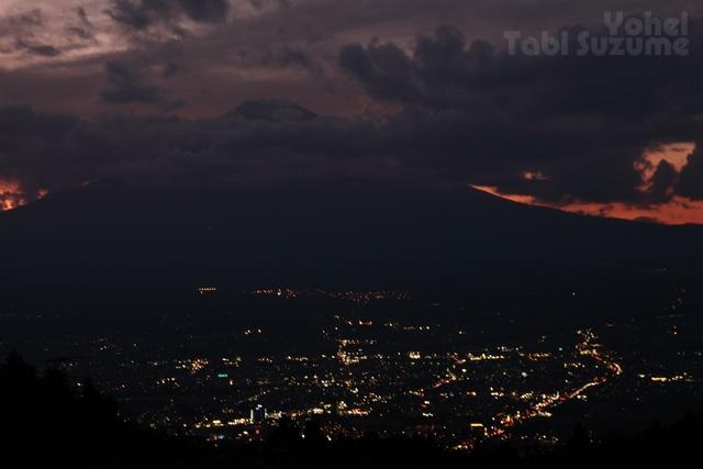 富士山の夕景・乙女峠ふじみ茶屋・画像